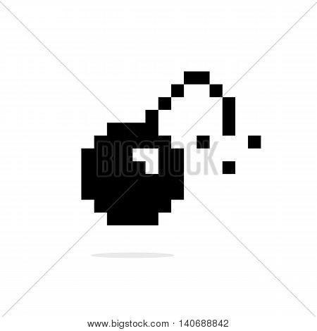 simple 8bit bomb black icon. concept of 8 bit video game, old videogame, bang, detonate, warning error. isolated on white background. pixelart style modern logotype design editable vector illustration poster