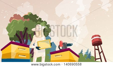 Farmer Gather Honey From Bee Hive Apiary Flat Vector Illustration