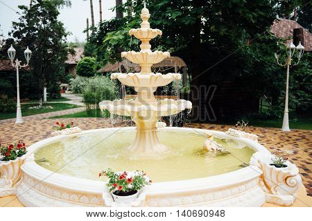 fountain multi-tiered in the park. sunny day