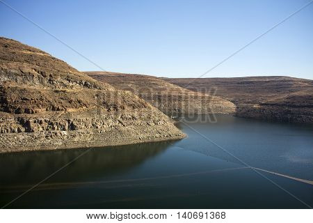 Panoramic view in Lesotho Southern Africa. Drakensberg. Mountain river. Beautiful landscape.