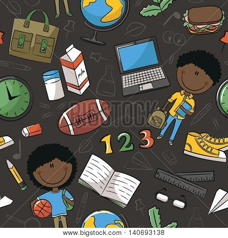 African-American school boys with tools and education objects vector seamless pattern. Teaching kids background.