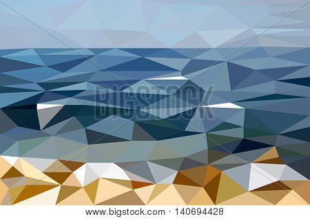 Abstract landscape of Black Sea shore made in low poly style