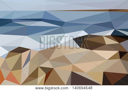 Abstract landscape of Black Sea shore made of in low poly style