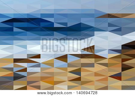 Stylezed landscape of Black Sea shore made of rightangled triangle shapes