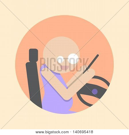 Man with Smartphone driving car. Flat icon. Stock vector illustration.