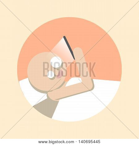 Man using Smartphone in bed. Flat icon. Stock vector illustration.