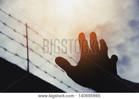 Silhouette hand extending to the sky with defocus barbwire, on gloomy overcast sky with bright sunlight, vintage tone