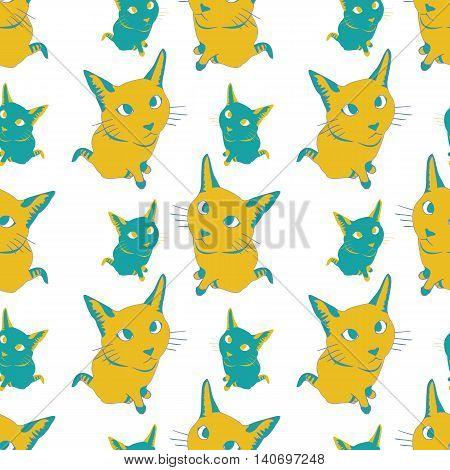 Seamless pattern with colorful cats. Stock vector illustration.