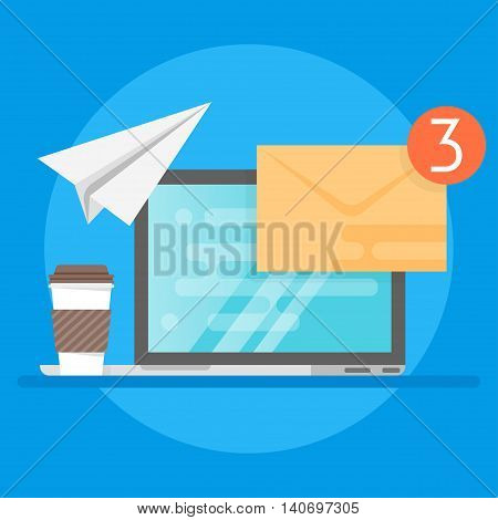 Vector illustration of laptop, coffee and envelope. Concept of e-mail.