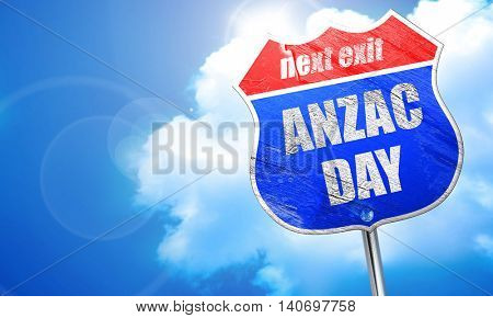 anzac day, 3D rendering, blue street sign