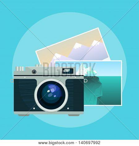 Vector illustration of vintage old camera and pix.