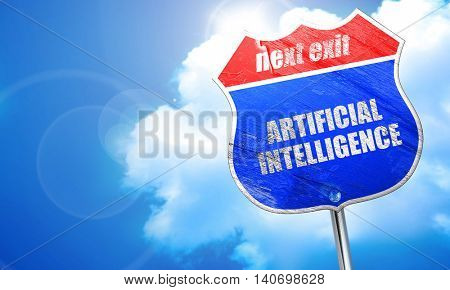 artificial intelligence, 3D rendering, blue street sign