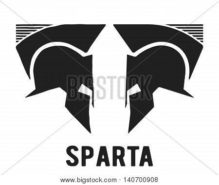 Spartan helmet icon. Two centurion helmet symbol. Vector illustration.
