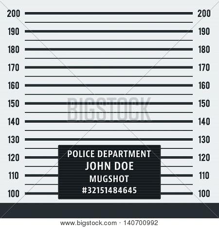 Police mugshot. Police lineup on white background. Vector illustration