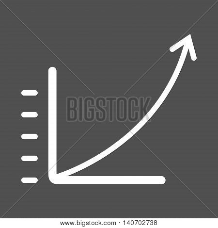 Fast growing linear graph. Simple business icon. Isolated vector illustration.