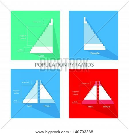 Population and Demography Illustration of Detail of Population Pyramids Chart or Age Structure Graph.