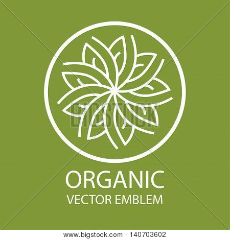 Vector abstract emblem, flower symbol, concept for organic shop or yoga studio, logo design template, linear logo design template, organic food and farming, green, vegan food concept