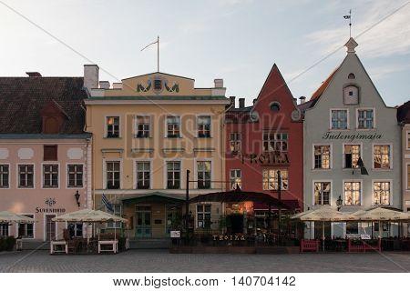 TALLINN ESTONIA june 2015: medieval buildings in the City Hall square-Raekoja Plats