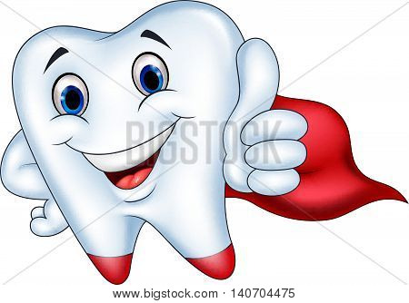 Vector illustration of Superhero tooth cartoon with thumb up