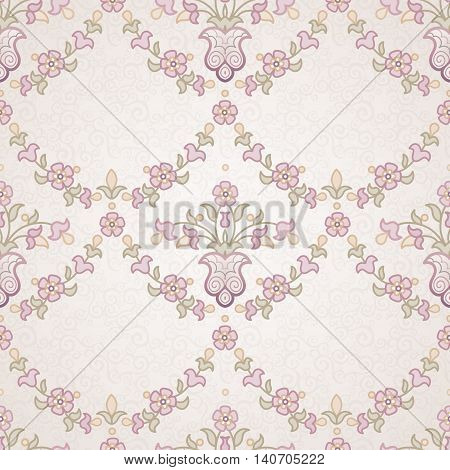Vector Seamless Floral Pattern In Eastern Style.