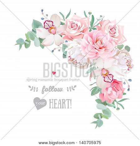 Delicate floral vector frame with peony camellia rose orchid carnation mint eucaliptus on white. Pink and white flowers. Crescent shape bouquet.
