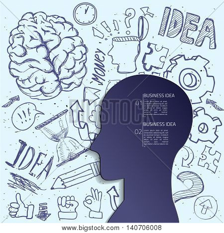 Creative brain Idea. Vector concept. Textured background. Sciences and arts. . Left and right brain functions.