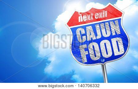 cajun food, 3D rendering, blue street sign