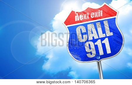 call 911, 3D rendering, blue street sign