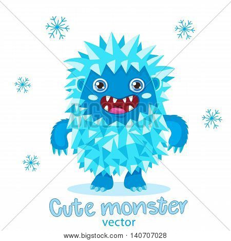 Cute Monster Vector Illustration. Bigfoot Cartoon Mascot. Funny Yeti Kids T-Shirt Design. Happy Toy On A White Background.