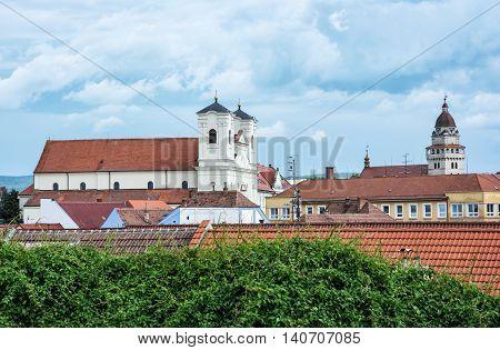 Jesuit church and Parish church of saint archangel Michael in Skalica Slovak republic. Place of worship. Cultural heritage. Travel destination.