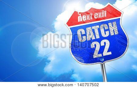catch, 3D rendering, blue street sign