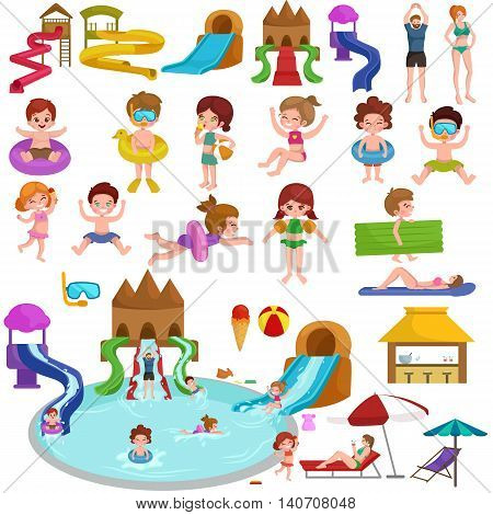 Waterpark aquapark playground with slides and splash pads for family fun vector illustration. Summer aquapark waterpark and happy child aquapark. Amusement swim fun childhood aquapark waterpark