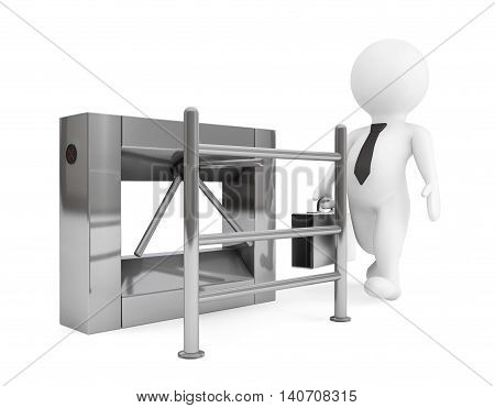 Entrance Tripods Turnstile with 3d Person on a white background. 3d Rendering