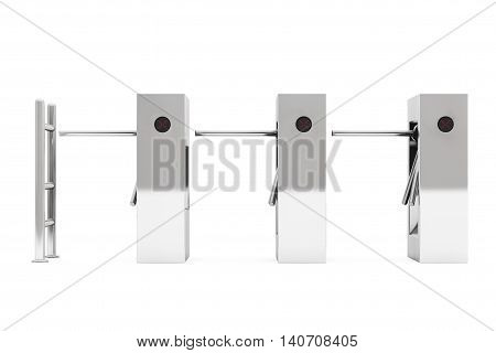 Entrance Tripods Turnstile on a white background. 3d Rendering