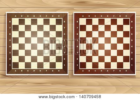 Vector Set Of Chess Boards On Wooden Background