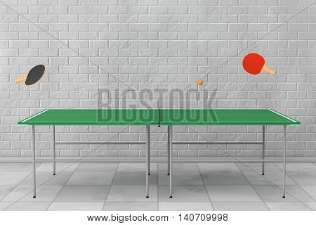 Ping-pong Tennis Table with Paddles in front of Brick Wall. 3d Rendering