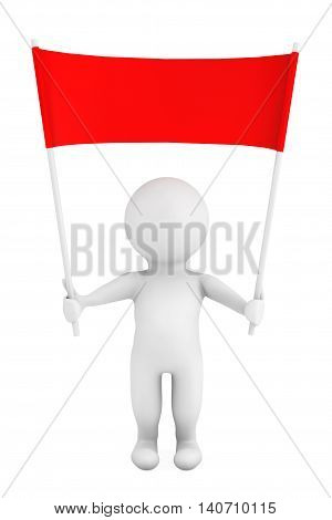 3d Person with Blank Red Placard Banner in Hands on a white background. 3d Rendering
