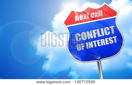 conflict of interest, 3D rendering, blue street sign
