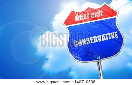 conservative, 3D rendering, blue street sign