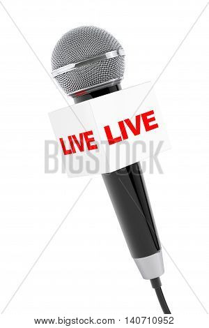 Microphone with Live Box Sign on a white background. 3d Rendering