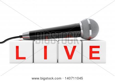 Microphone over Live Cube Sign on a white background. 3d Rendering