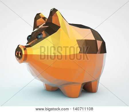 Piggy Bank in Low Polygons Style on a white background. 3d Rendering