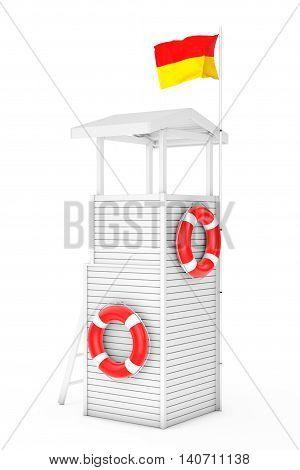 Wooden Lifeguard Tower on a white background. 3d Rendering