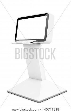 Computer Information LCD Display Stand on a white background. 3d Rendering