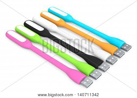 Multicoloured Led USB Lamps on a white background. 3d Rendering