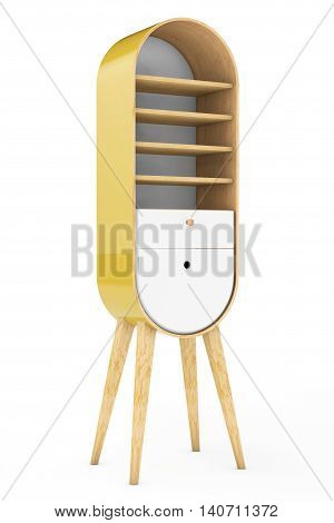 Vintage Wooden Kitchen Cabinet on a white background. 3d Rendering