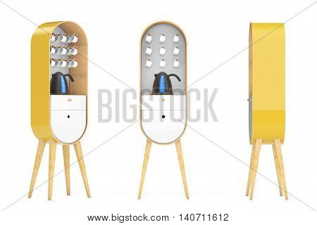 Vintage Wooden Kitchen Cabinets with Kettle and Cups on a white background. 3d Rendering