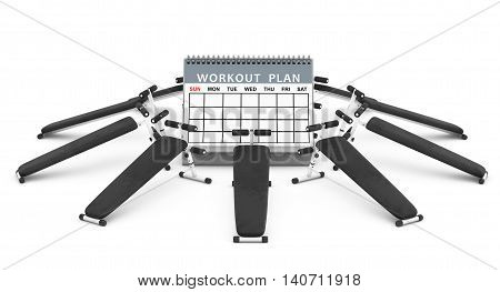 Exercise benches. Gym Equipment around the Workout Plan Calendar on a white background. 3d Rendering