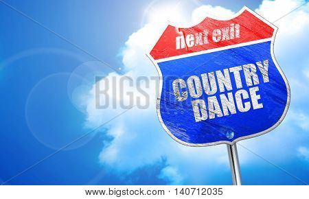 country dance, 3D rendering, blue street sign