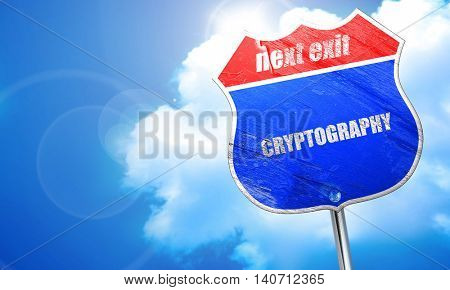 cryptography, 3D rendering, blue street sign
